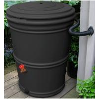 50 gallon black rain barrel recycled plastic 6 pack