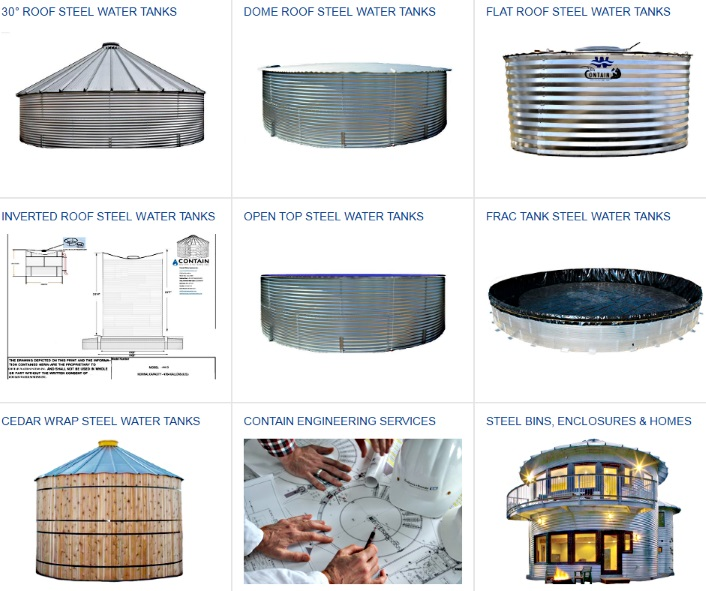 Contain Water Systems Corrugated Metal Steel Water Tanks