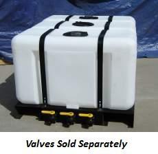 300 Gallon Rectangular Flat Bottom Tank w/ Extended Skid (3 100 Gal Tanks)