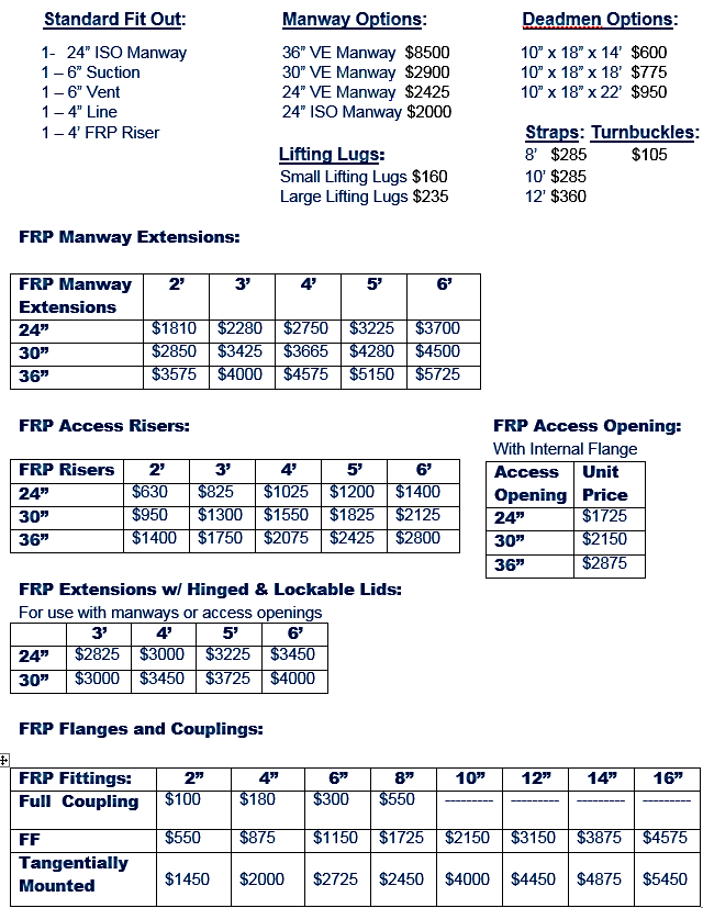 fiberglass tank accessories
