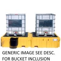 UltraTech Twin IBC Spill Pallet, 1 Right Side Bucket Shelf (w/ drain)