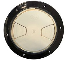 """8"""" Inspection Lid - Black Collar, Clear Lid"""