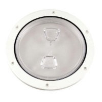 "6"" Inspection Lid - White Collar, Clear Lid"
