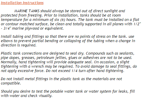 marine tank installation instructions
