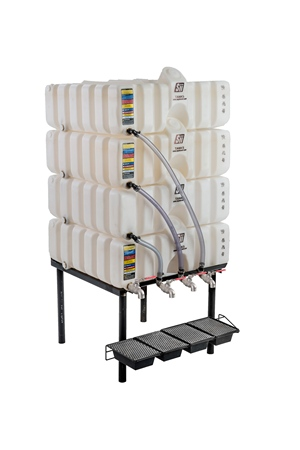 60/60/60/60 Gal Cubetainer Gravity Feed System with Brass Inserts