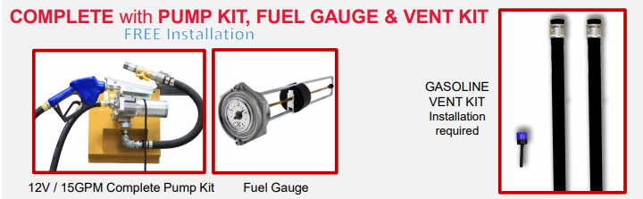 complete with pump kit, fuel gauge and vent kit
